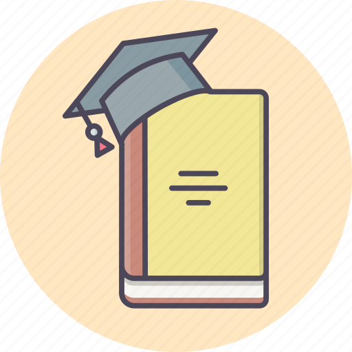 Cap, hat, education, study, book, knowledge, learning icon