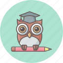 bird, classroom, education, knowledge, owl, professor, teacher icon