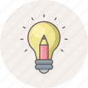 bulb, creative, electricity, idea, lamp, light, pencil icon