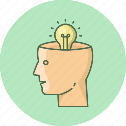 brain, bulb, head, mind, think, thinking, thought icon