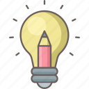 bulb, creative, design, graphic, idea, light, pencil icon