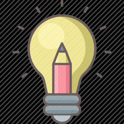 bulb, creative, design, graphic, idea, light, pencil icon