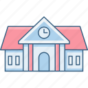 building, clock, education, house, learning, school icon
