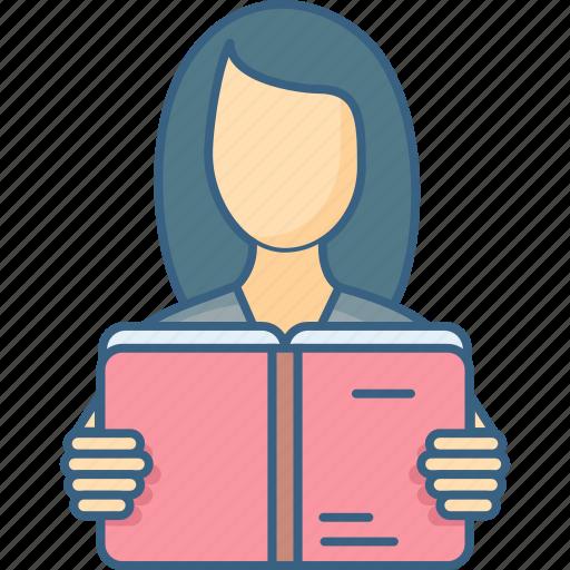 education, female, girl, learning, school, student, university icon