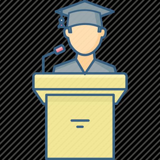Podium, speech, announcement, communication, message icon - Download on Iconfinder