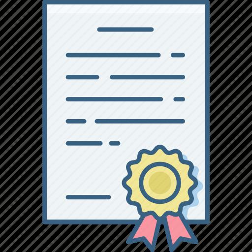 badge, certificate, degree, diploma, education, graduation, proof icon