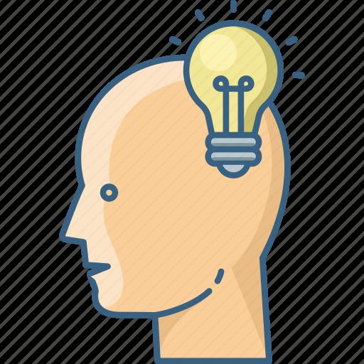 bulb, business, creative, human, idea icon