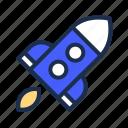blue, education, rocket, school, science icon