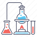 chemical experiment, chemical reaction, chemical test, chemistry, lab apparatus, lab test icon