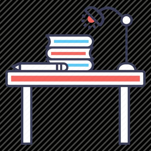 school desk, school furniture, student desk, study table, workplace icon