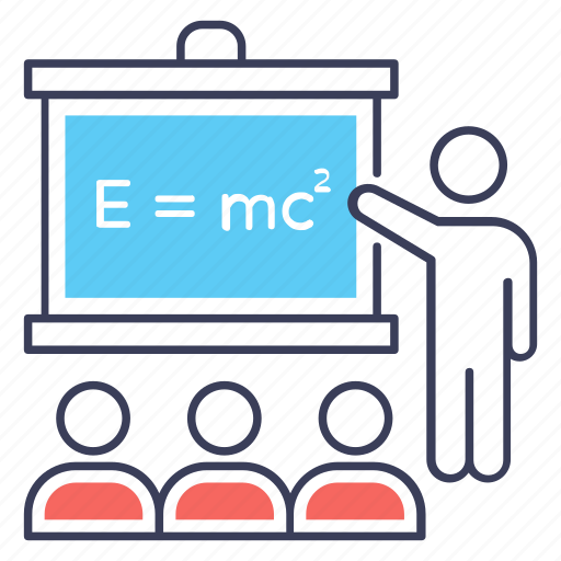 classroom, newton's equation, physical education, physics class, physics lecture icon
