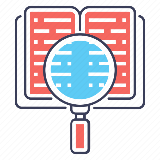 book searching, content search, data finding, document analysis, search learning icon