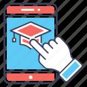 ebook, educational app, mobile app, mortarboard, online education icon