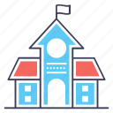 building front, condominium, school building, school infrastructure, university icon