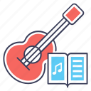 electric guitar, melody book, music book, music class, musical instrument icon