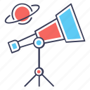 astronomy, optical lens, research equipment, spy glass, telescope icon