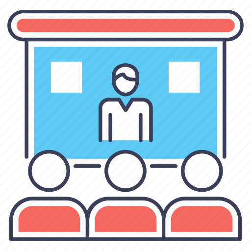 video chat, video lesson, video presentation, web conference, webinar icon