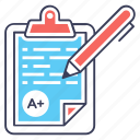 educational document, exam sheet, grade sheet, test notepad, test paper, test sheet icon