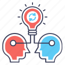 exchange concept, idea exchange, idea sharing, idea sync, idea transfer, sharing thoughts icon