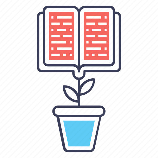 book plant, educational development, educational growth, educational progress, learning growth icon