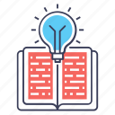 creative book, creative knowledge, general knowledge, knowledge power, study innovation icon