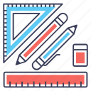 drawing tool, geometry, maths, measurement tools, stationery icon