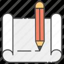blueprint, documentation, drafting sheet, office paper, writing document icon