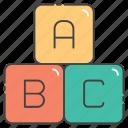 abc, alphabetic blocks, alphabetic letters, english alphabets, primary learning icon