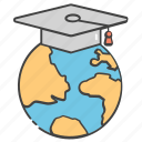 global degree, global education, global learning, world learning, worldwide education icon