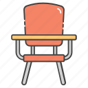 armed chair, classroom furniture, desk chair, school furniture, student chair icon