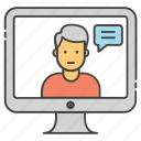 live call, live chat, live communication, video call, video chat icon