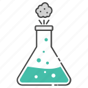 chemical reaction, conical flask, elementy flask, experiment tool, lab apparatus icon