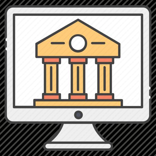 distance education, online education, online institute, online university, university building icon