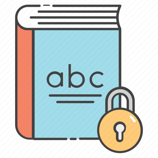 book lock, book padlock, book protection, private book, secure book icon