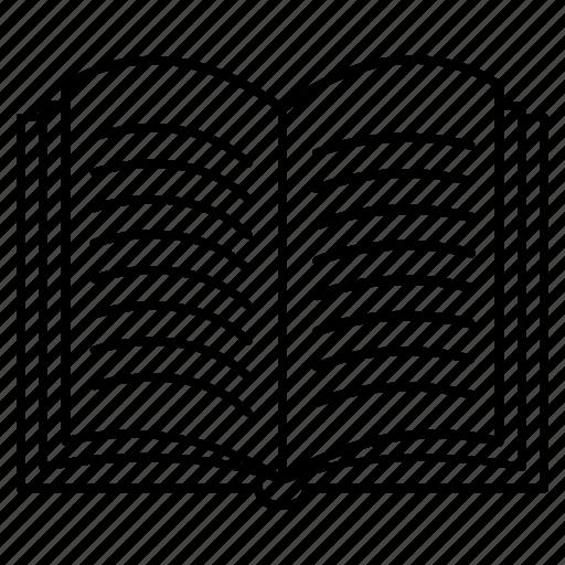 open book, reading book, reading novel, story book, text book icon