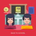 bell, blackboard, book, female, school, student icon