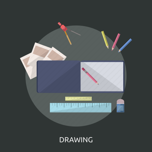 colored pencils, drawing, eraser, pencil, ruler icon