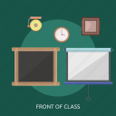 bell, blackboard, clock, front of class, time icon