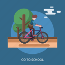 bike, cloud, go to school, road, student, tree icon