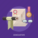 glasses, graduation, medal, paper, trophy icon