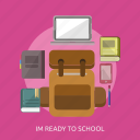 bag, book, laptop, pencil, phone, school equipment icon