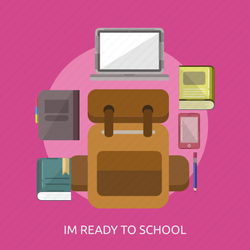Bag, book, laptop, pencil, phone, school equipment icon - Download on Iconfinder