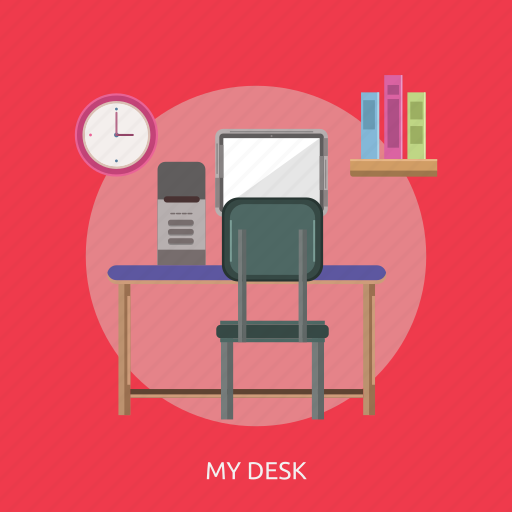 book, chair, clock, computer, my desk, table, time icon
