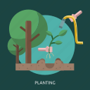 hand, land, planting, sprout, tree icon