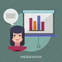 chart, female, learning, presentation, student icon