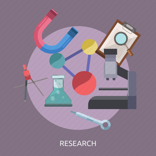 atom, experiment, lab tool, magnet, microscope, research icon