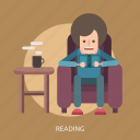 book, coffee, man, reading, sofa, table icon
