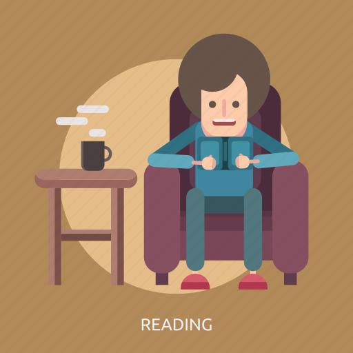 book, coffee, man, reading, sofa, table icon