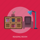 book, cupboard, reading room, sofa, sprout icon