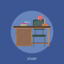 book, chair, lamp, study, table icon